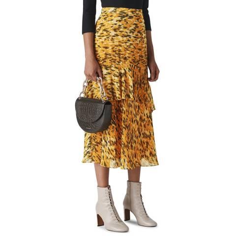 WHISTLES Yellow Ikat Animal Midi Skirt
