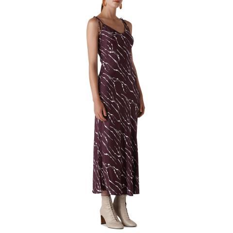 WHISTLES Plum Dagma Twig Print Slip Dress