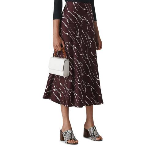 WHISTLES Plum Twig Print Bias Cut Skirt
