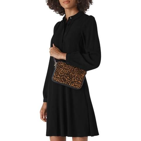 WHISTLES Black Pintuck Shirt Dress