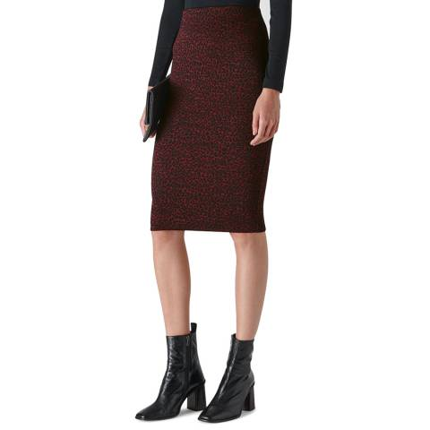 WHISTLES Deep Red Animal Jacquard Tube Skirt