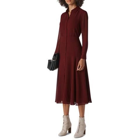 WHISTLES Deep Red Carys Midi Shirt Dress