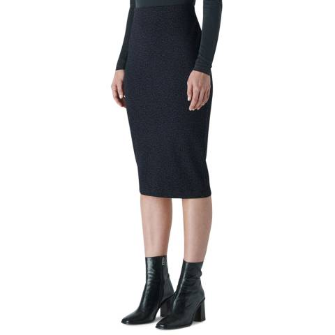 WHISTLES Navy Animal Jacquard Tube Skirt