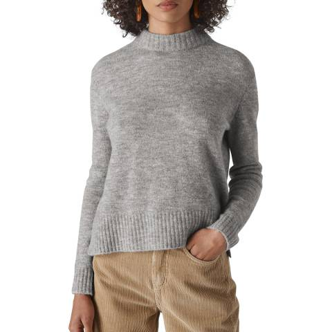 WHISTLES Grey Ribbed Neck Jumper