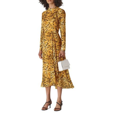 WHISTLES Yellow Ines Ikat Animal Dress