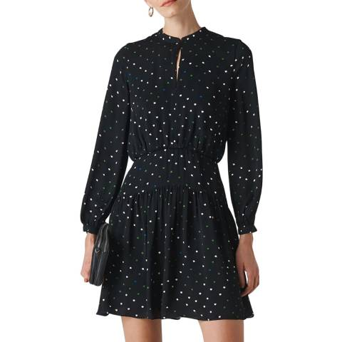 WHISTLES Black Millie Star Print Dress