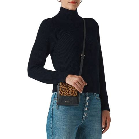 WHISTLES Navy Puff Sleeve Roll Neck Jumper