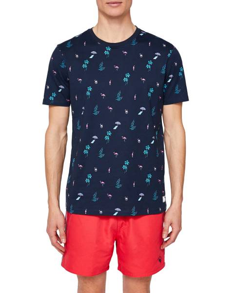 Ted Baker Navy Winndy All Over Print T-Shirt
