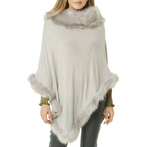 JayLey Collection Grey Cashmere Silk Blend Poncho