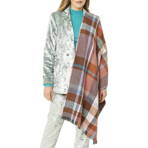 JayLey Collection Multi Check Cashmere Silk Blend Scarf