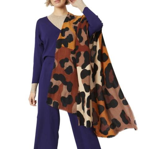JayLey Collection Animal Print Cashmere Silk Blend Scarf