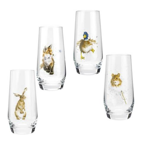Royal Worcester Set of 4 Assorted Country Animals Hi Ball Glasses