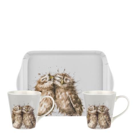 Royal Worcester Owl Mug & Tray set