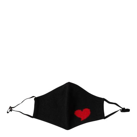 Scott & Scott London Black/Red Cashmere Heart Face Mask