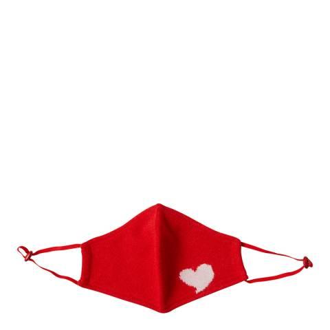 Scott & Scott London Red/White Cashmere Heart Face Mask