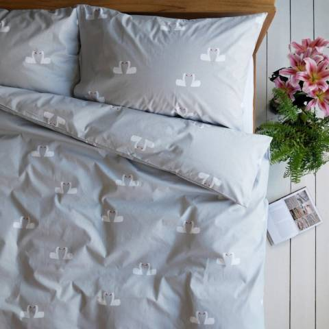 Anorak Kissing Swans Single Duvet Cover Set, Light Grey