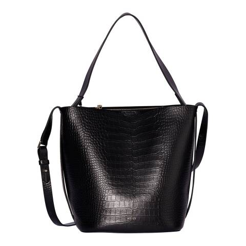 Reiss Black Hudson Croc Bucket Bag