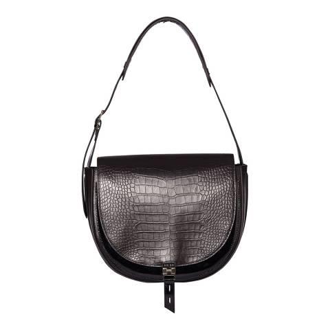 Reiss Chocolate Hurlingham Croc Shoulder Bag