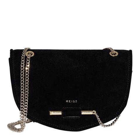 Reiss Black Langley Suede Crossbody