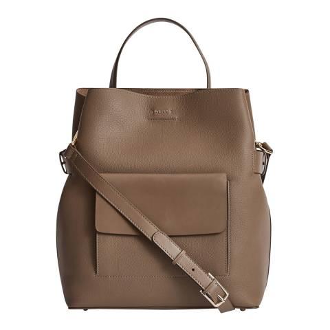 Reiss Grey Freya Textured Bucket Bag