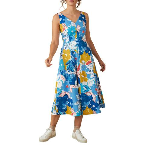 Emily and Fin  Blue Asilah Floral Margot Midi Dress