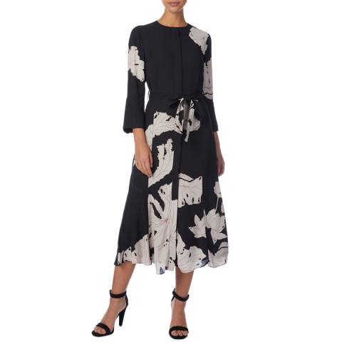 Reiss Black/White Zana Floral Midi Dress