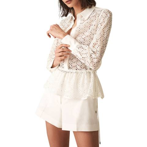 Reiss White Betty Broderie Shirt