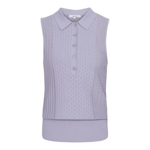 Reiss Lilac Angelo Sleeveless Knit Polo Top