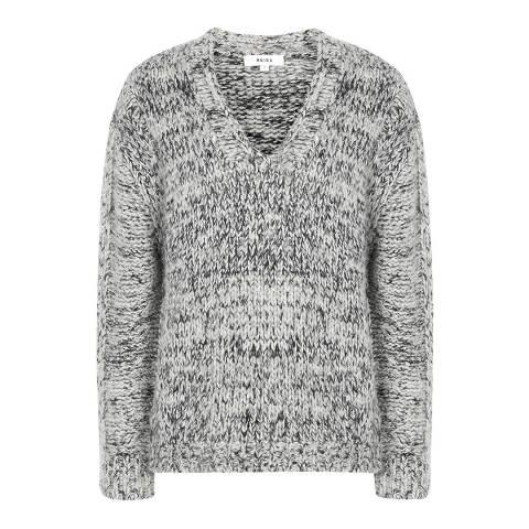 Reiss Grey Flo Textured Weave Jumper