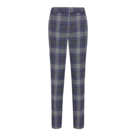 Reiss Blue Check Josie Slim Trousers