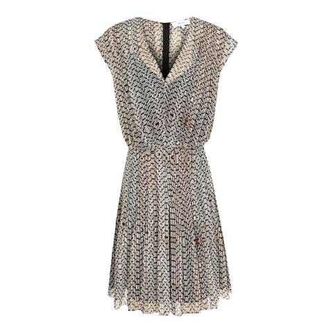 Reiss Neutral Marcy Bead Print Dress
