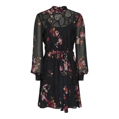Reiss Black Rakel Floral Crochet Lace Dress