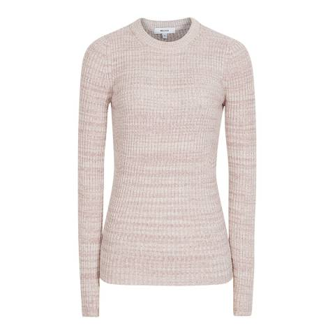 Reiss Pink Suri Ribbed Knit Top