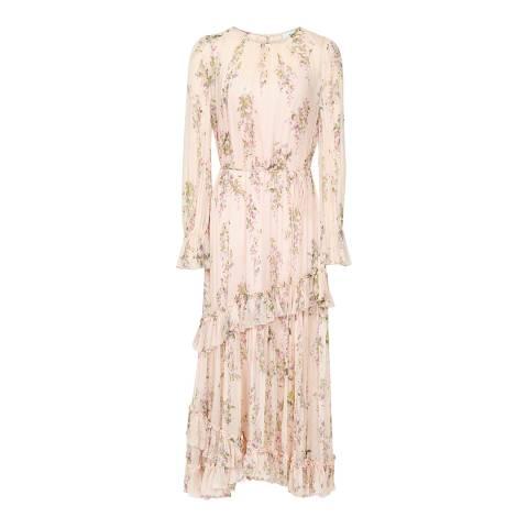 Reiss Pink Amber Printed Ruffle Dress