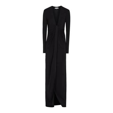 Reiss Black Harlyn Plunge Maxi Dress