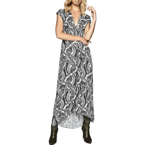 Reiss Black/White Ida Paisley Maxi Dress