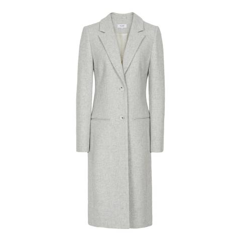 Reiss Grey Pembury Longline Wool Blend Coat