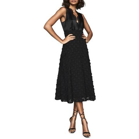 Reiss Black Leni Jacquard Spot Dress