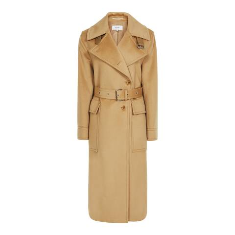 Reiss Camel Everley Wool Blend Trench Coat