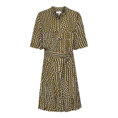 Reiss Khaki Ottoline Spot Print Dress