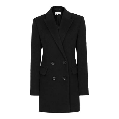 Reiss Black Marloe Textured Wool Blend Coat