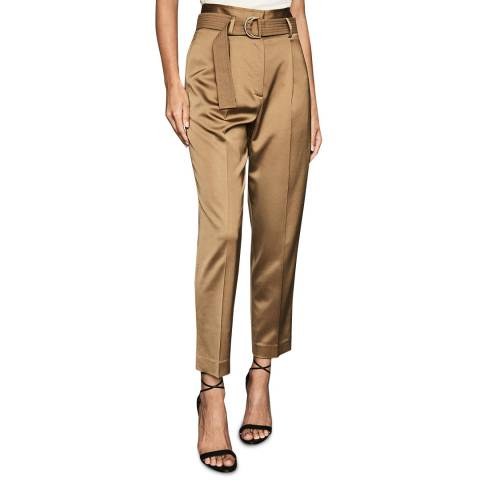 Reiss Gold Bryn Shiny Belted Trousers