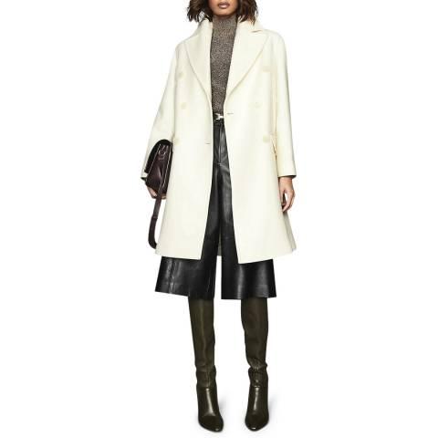 Reiss White Alba Relaxed Wool Blend Coat