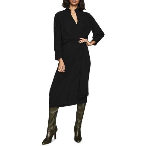 Reiss Black Priya Belted Dress