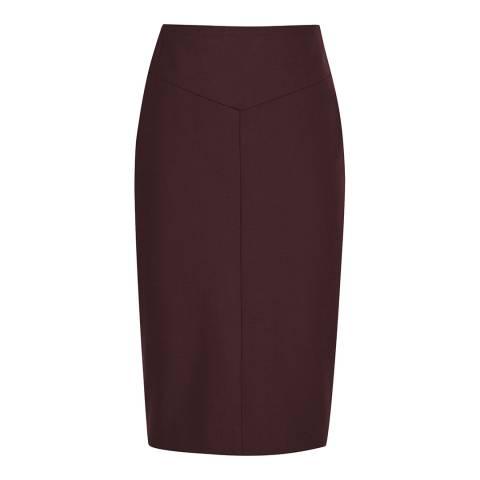 Reiss Deep Red Lissia Wool Blend Pencil Skirt