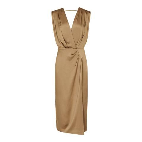 Reiss Gold Elaini Occasion Dress
