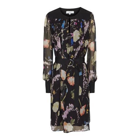 Reiss Black/Multi Print Finn Romantic Dress