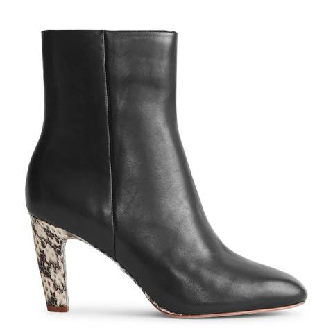 Reiss Black Sophia Snake Leather Ankle Boots
