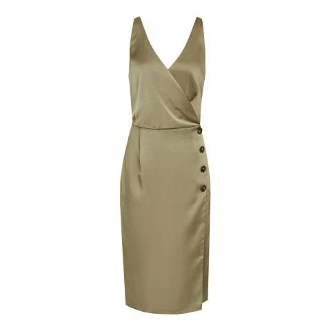 Reiss Khaki Peppa Button Cocktail Dress