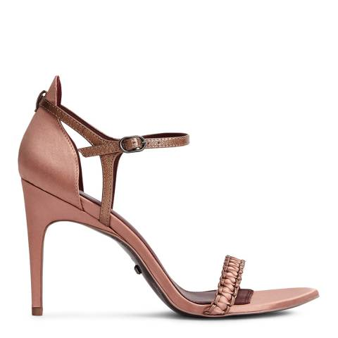 Reiss Rose Gold Linette Woven Strappy Sandals